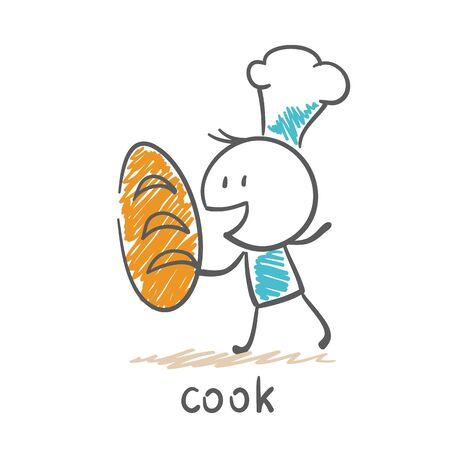 cook baked bread illustration Illusztráció