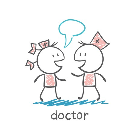 medicate: Doctor talking to a nurse illustration