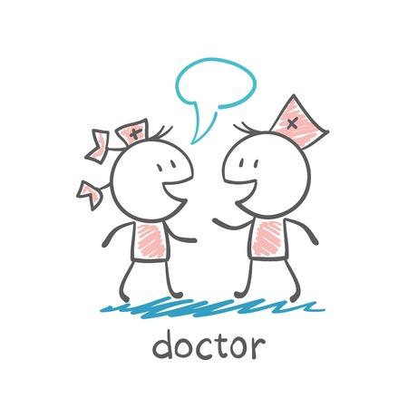 physiotherapist: Doctor talking to a nurse illustration