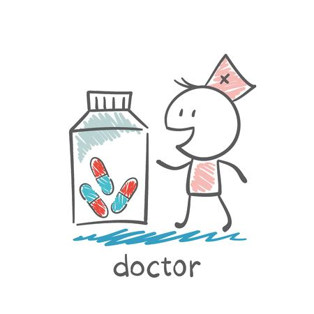 emergence: Doctor stands next to a large jar of pills illustration