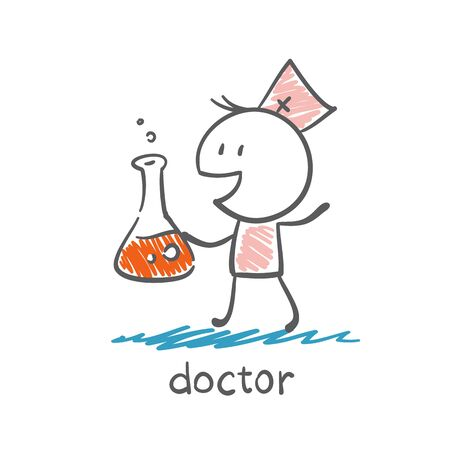 physiotherapist: doctor makes the medicine illustration