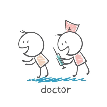 general: doctor makes the patient an injection syringe illustration