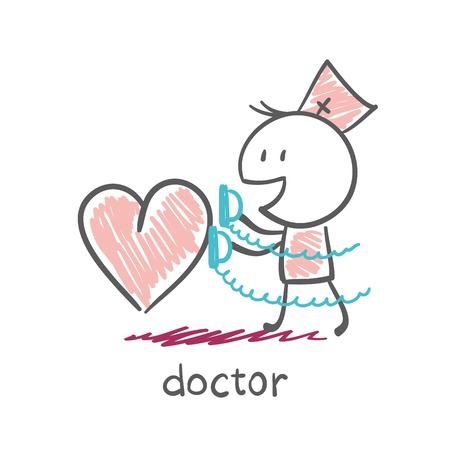 physiotherapist: Doctor with a defibrillator saves heart illustration