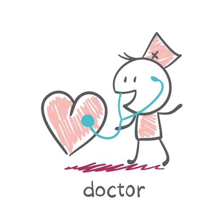 medicate: Doctor listens to a stethoscope heart illustration