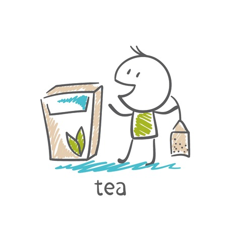 teleworker: man stands with a pack of tea illustration Illustration