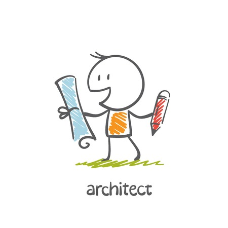 building inspector: architect with paper and pencil illustration