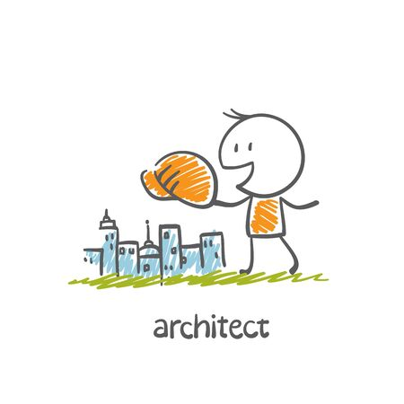 architect building city illustration Ilustracja