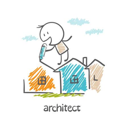 architect: architect draws a pencil houses illustration Illustration