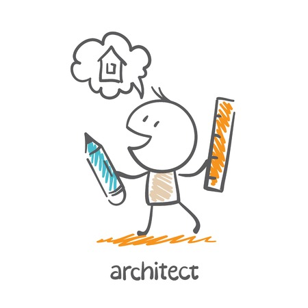 building inspector: architect holding a pencil and ruler and dreams about the house illustration