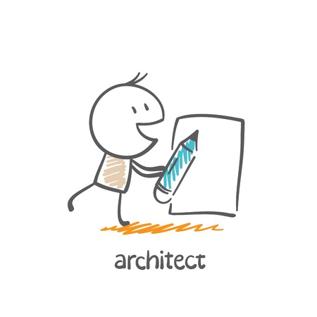 building inspector: architect draws a pencil on paper illustration