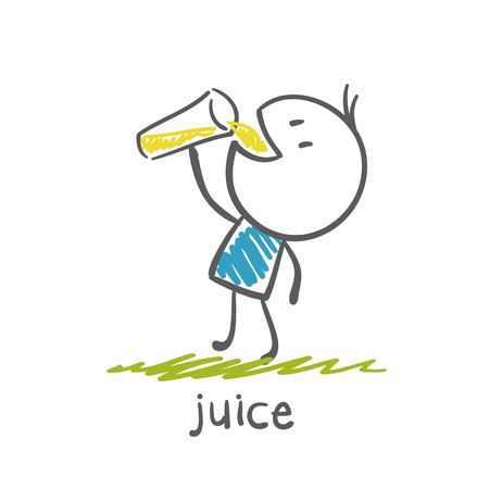 man drinking juice illustration Иллюстрация