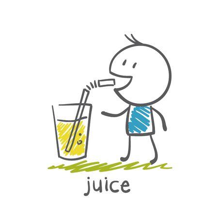 portly: man drinking juice illustration Illustration