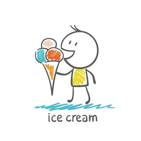 eats: man eats ice cream illustration Illustration