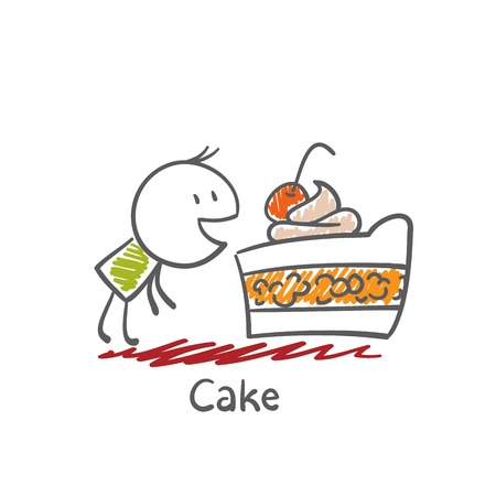 eats: man eats cake illustration Illustration