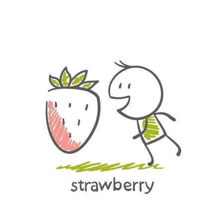 hart: People with strawberries illustration Illustration