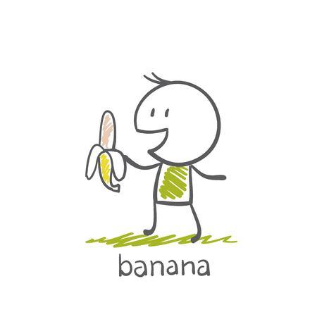 comiendo platano: hombre con una ilustración de plátano Vectores