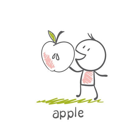 apple isolated: man with an apple illustration