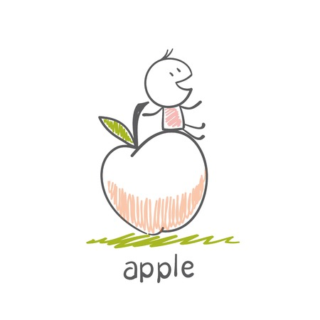 winesap apple: man with an apple illustration
