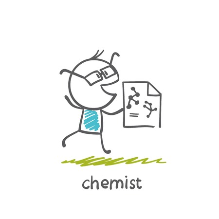 chemist runs a sheet of paper on which are drawn chemical formulas  illustration