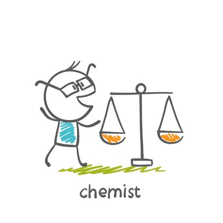 chemist is standing with weights illustration