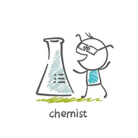 chemist standing with bulb illustration Vector