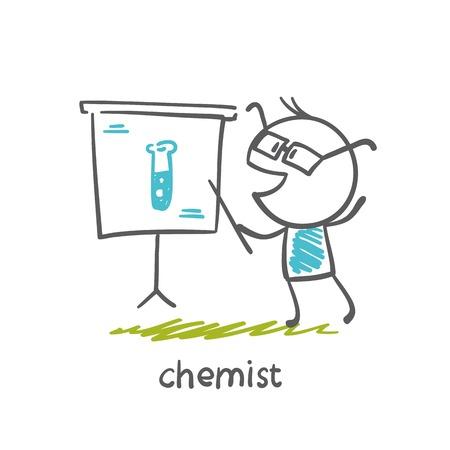 chemist: chemist shows a pointer to the board illustration Illustration