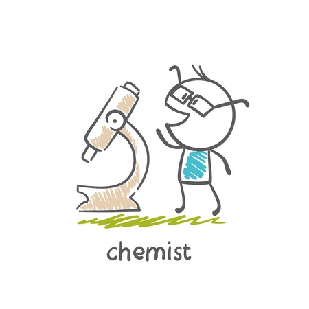 chemist: chemist is standing with a microscope illustration Illustration