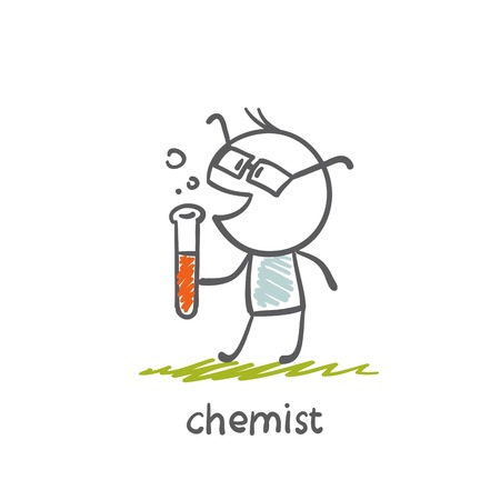 chemist standing with bulb illustration Illustration