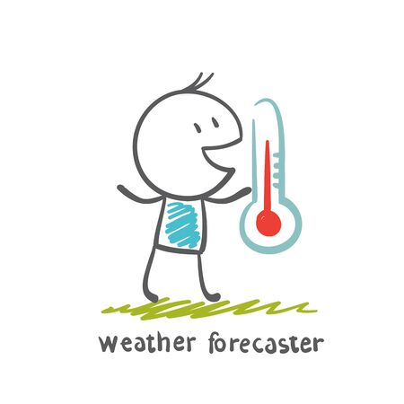 weather map: weather forecaster keeps thermometer illustration Illustration