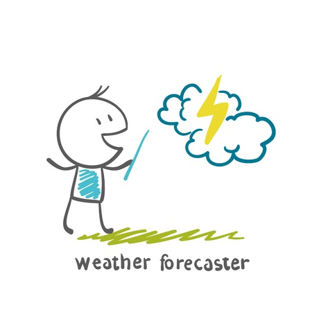 newscast: weather forecaster tells the story of lightning illustration