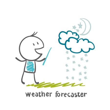 weather forecaster tells the story of the snowy weather at night illustration Vector