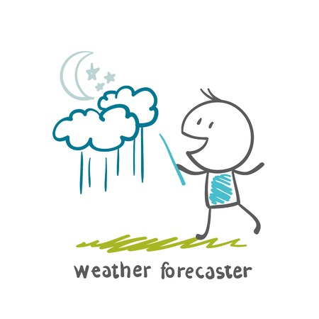 weather forecaster tells about the rain at night illustration Vector