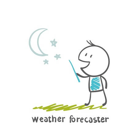 forecaster: weather forecaster tells the story of the night cloudless weather illustration