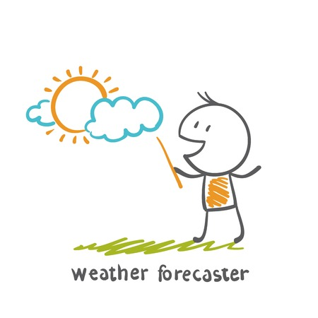 weather forecaster talks about the overcast day illustration Ilustracja