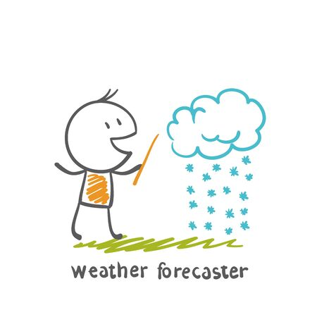 forecaster: weather forecaster tells the story of snowy weather day illustration Illustration