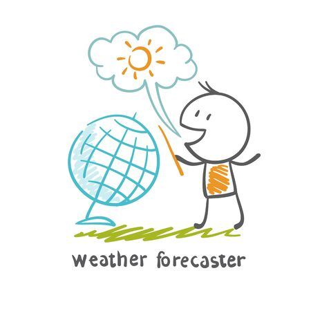 forecaster: weather forecaster talks about the weather illustration Illustration