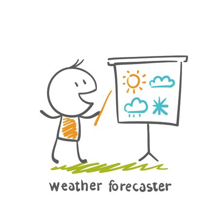 weather forecaster talks about the weather illustration Иллюстрация