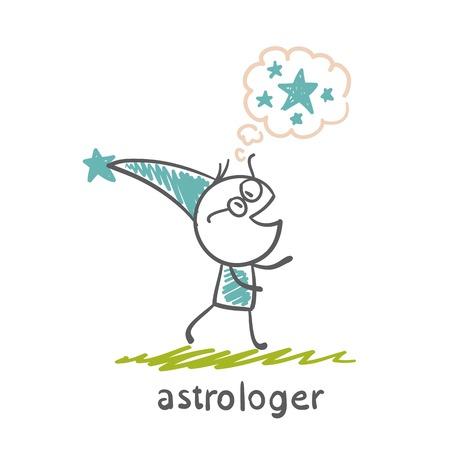 astrologer: astrologer thinks about the stars illustration Illustration
