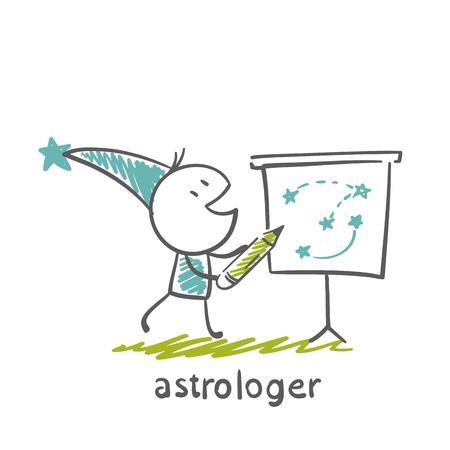 astrologer: astrologer draws a map of the sky illustration Illustration