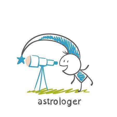 astrologer: astrologer looks through a telescope illustration Illustration