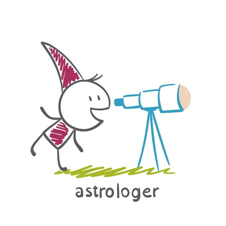 astrologer looks through a telescope illustration Illustration