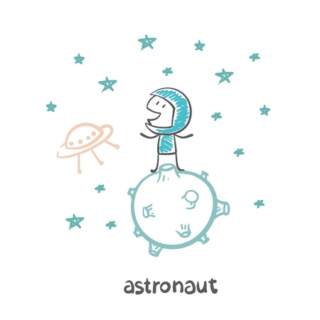 astronaut on another planet with aliens illustration Vector