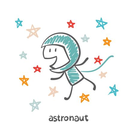 astronaut in space illustration Vector
