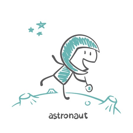 astronaut on another planet illustration Vector
