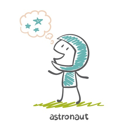 astronaut thinks about the stars illustration Vector