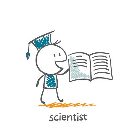 scientist reading a book illustration Vector