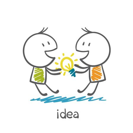 unsuccess: Two people are fighting for the idea-bulb illustration Illustration
