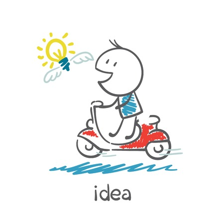 smart goals: man riding a moped for the idea bulb illustration
