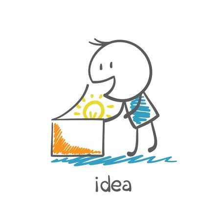 man opens a box with the idea-bulb illustration Vector