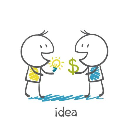 misery: a person buys the idea of money illustration